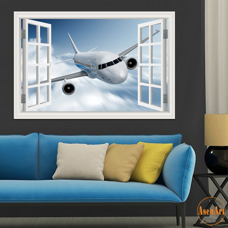 3d Landscape Wallpaper Airplane Wall Sticker Decal Vinyl Wall Art Mural Large Window View Blue
