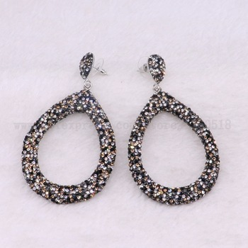 5 Pairs multi color earrings drop shape druzy earrings drop earrings jewelry earrings wholesale jewelry 3382 фото