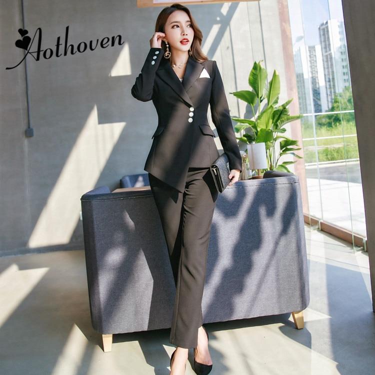 Vêtements D'affaires Costumes Pantalons Automne Femmes Pièce Uniforme Occasionnels Pièces Formelle 2 Noir De Mis 2018 Deux Bureau Ensembles Travail Pantalon Mince w81nxw4