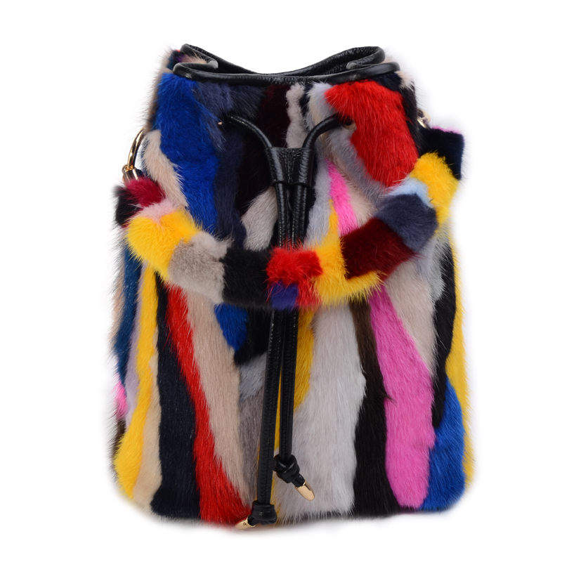 Women Real Leather Mink Rainbow Colors Fur Handbag Shoulder Bag Multi-color Purses Real Leather mathey tissot d539bdi