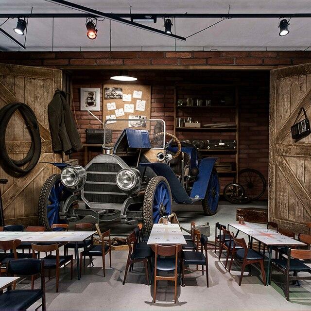 Vintage Wallpaper Stereo Mobil Retro Mural Cafe Restoran Ruang Tamu Dekorasi Kreatif Dinding Kertas