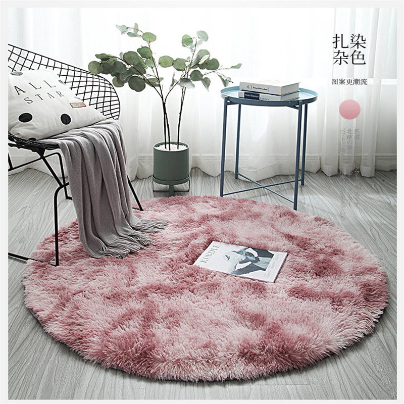 Nordic Ins Living Room Long Hair Carpet Tie-dye Mat Variegated Bedroom Bedside Blanket Round Tie-dyed Carpet Child Crawling Mat