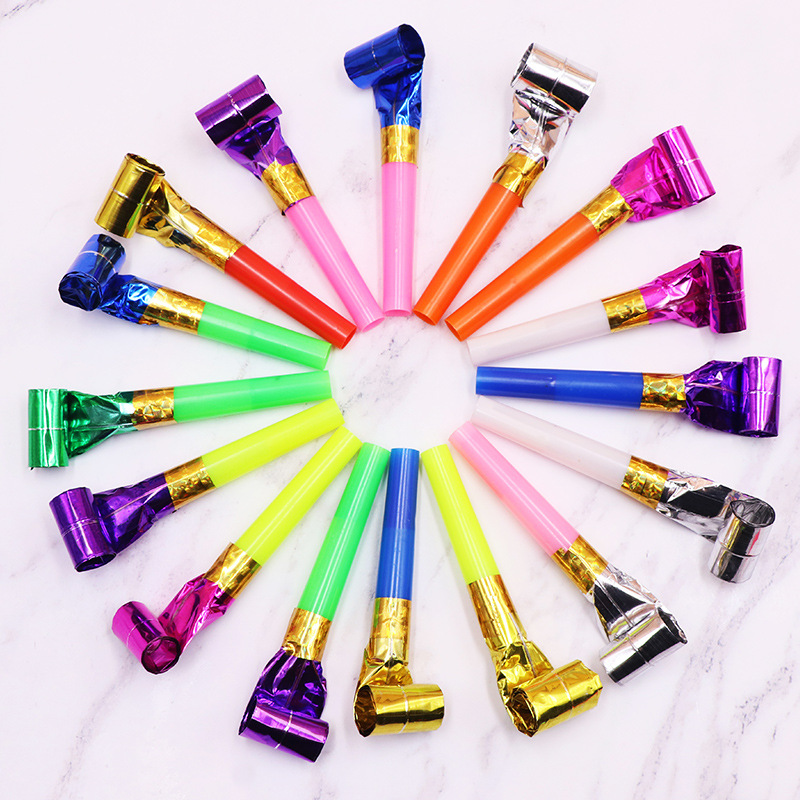 30PC / Pack children's party roll paper outbreak whistle party like kids birthday party funny props noise maker toy party gift
