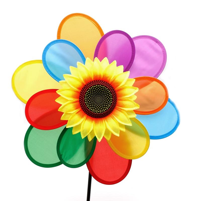 fille Sunflower Windmill Wind Spinner Rainbow Whirligig Wheel Home Yard Decoration