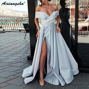 Image 5 - Elegant Uit De Schouder Rode Party Gown Satijn Sexy Prom Dress Sky Blue Hoge Split Plus Size Prom Dresses Lange vestido Fiesta