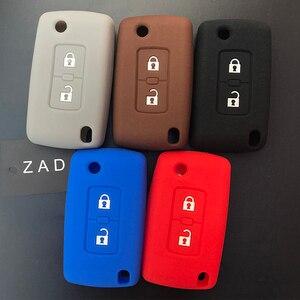 Image 2 - ZAD 2 pulsanti chiave Dellautomobile Del Silicone di Caso Della Copertura di Protezione per Mitsubishi Lancer 10 Outlander 3 Pajero sport auto chiave a distanza accessorio