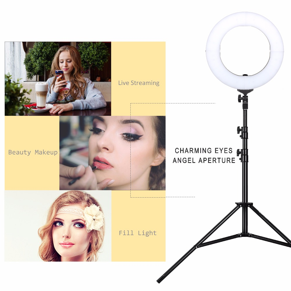 ZOMEI 14 inch LED Photography Ring Light Dimmable Camera Photo Studio Phone Video Lamp Led 5500K Lighting Photo Video Stand yongnuo yn128 yn 128 camera photo studio phone video 128 led ring light 3200k 5500k photography dimmable ring lamp