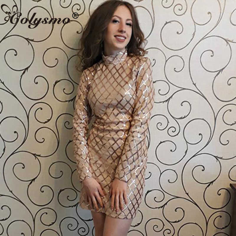 Colysmo sexy party dress Long sleeve Sequin dress summer women casual dress  Sequined embroidery Autumn luxury 485e3a57c2d9