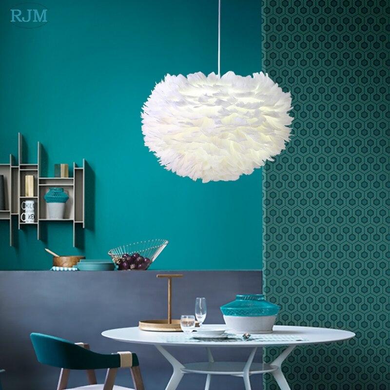 Personnalité nordique créative plume blanche nid pendentif lumières pour salon chambre Restaurant éclairage de chambre d'enfants