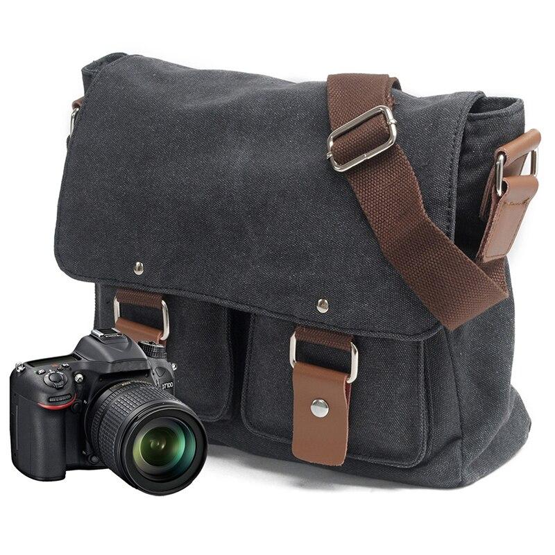 Camera Bag with Photo Pouch Canvas DSLR SLR Shoulder Bag Vintage Messenger Comfort Camera Bag for 2101ND Sony Nikon Canon