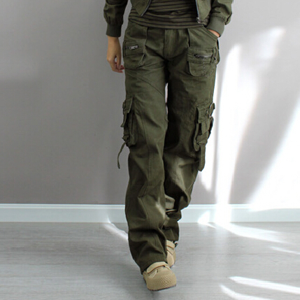 buy army green fatigue cargo baggy pants women loose plus size boyfriend denim. Black Bedroom Furniture Sets. Home Design Ideas