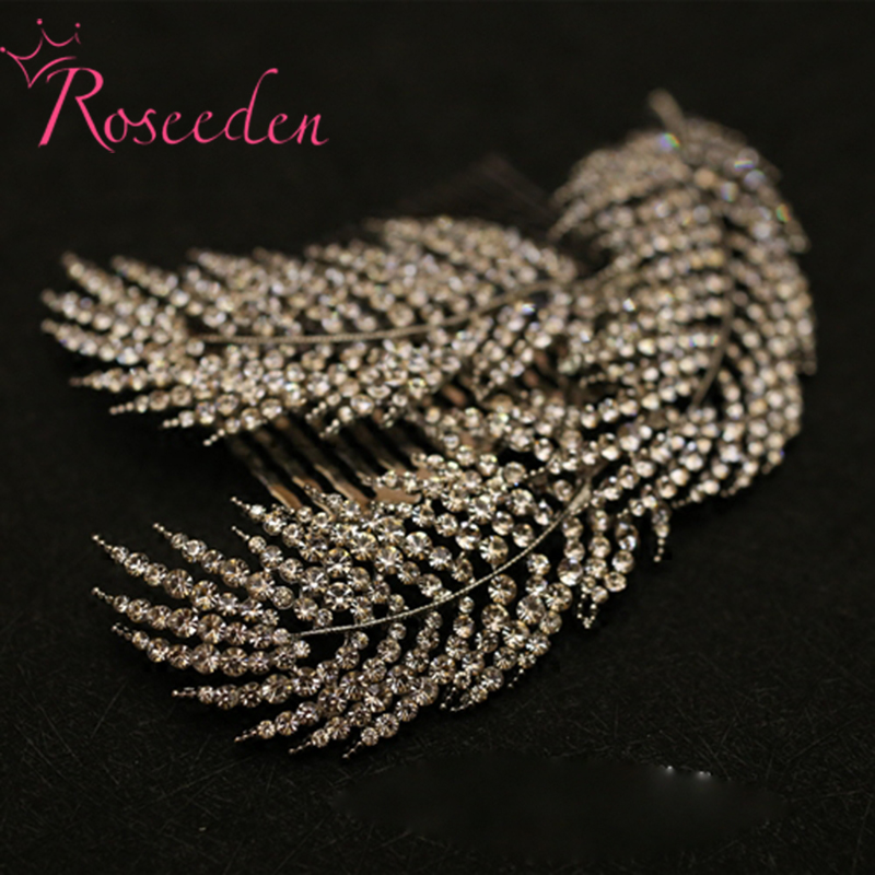 rhinestone alloy leaves women hair combs bridal drilling hairpins Wedding Hair Accessories Headwear Jewelry hair ornaments RE374