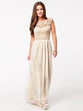 Attraktive A-linie U-ausschnitt Bodenlangen Abendkleid Kleid 2015 Kleid Backless Sleeveless F1807