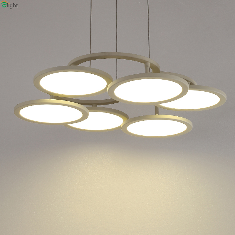Nordic Metal Ring Led Pendant Chandelier Lighting Lustre Round Acrylic Dining Room Led Chandeliers Lamp Simple Led Hanging Light