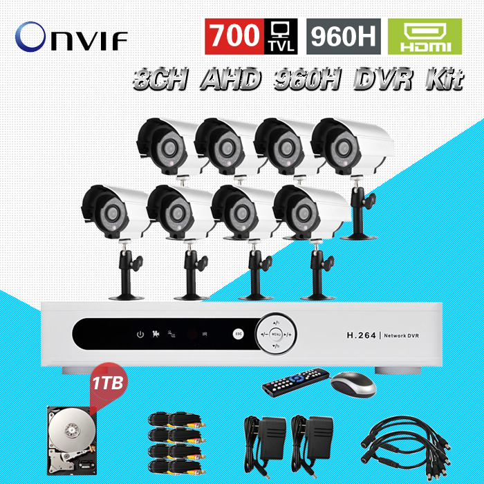 TEATE 8CH AHD 960H HVR DVR NVR Security Camera System 8pc 700TVL Camera 1TB HDD CCTV Kit Video Surveillance system 8ch CK-201 система видеонаблюдения ngtechnic 8 8 cctv 8 2 dvr 1008 d626bcm 700 c