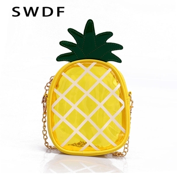 398ad367b SWDF 2019 nuevo encantadora piña bolsas bolsos de las mujeres Cadena de PVC  hueco Casual de moda de chicas bolso monedero