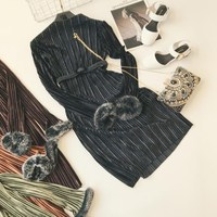 Women Vintage Dresses 2017 Autumn Winter Black Fur Long Sleeve A Line Elegant Knee Length O