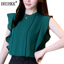Фотография DHIHKK Blouses Female 2017 Fashion O-neck Women chiffon blouse shirts Butterfly Sleeve tops blouse women 10 Color Size S-2XL