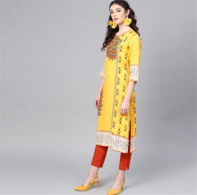 Three Quarter Sleeve India Fashion Costume Woman Ethnic Styles Print Set Cotton Yellow Elegent Lady Spring Summer
