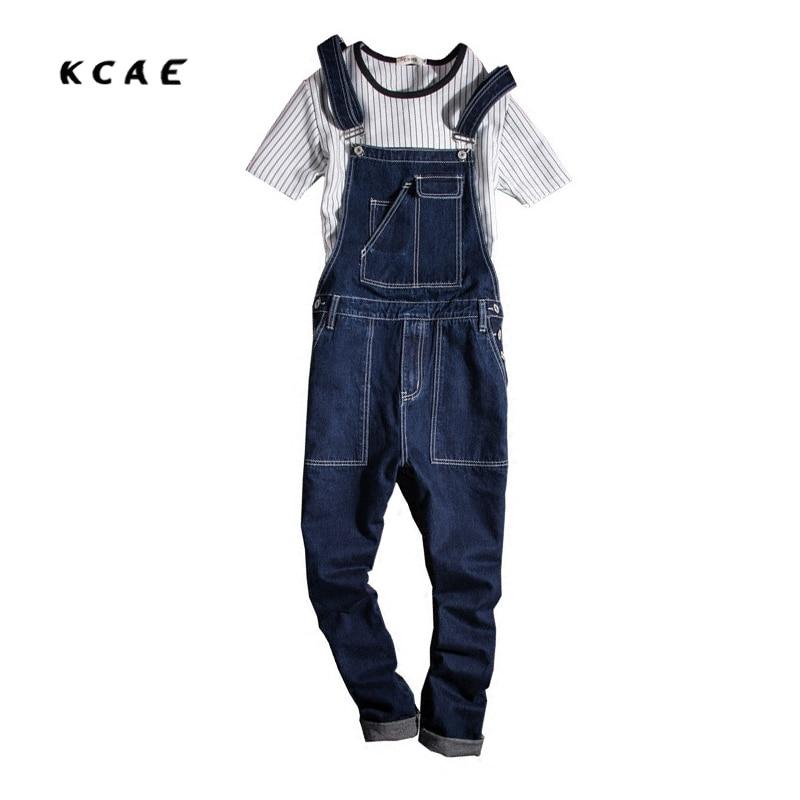 2017 New Mens Cotton Denim Blue Jumpsuit Bib Overall Jeans Men Fashion Casual Male Denim Jumpsuit Long Trousers M-XXL