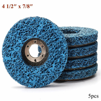 5pcs Abrasive Tools 110mm Poly Strip Wheels Paint Rust Removal Clean Angle Grinder Discs Blue
