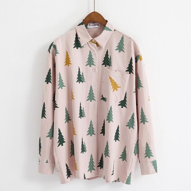 Trends Weihnachten 2019.Us 15 99 Strickjacke Harajuku Bluse Frauen Tops Koreanische Vintage Frühling Herbst Neue Retro Weihnachten Baum Mode Trend Rosa Frauen Blusen 2019