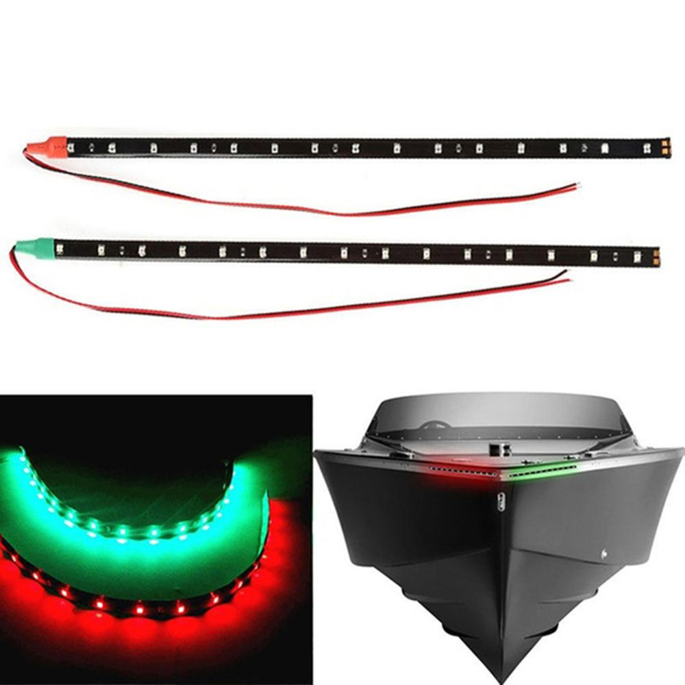 2Pcs Red/Green LED Navigation Light Strip Waterproof Car Marine Boat Supplies