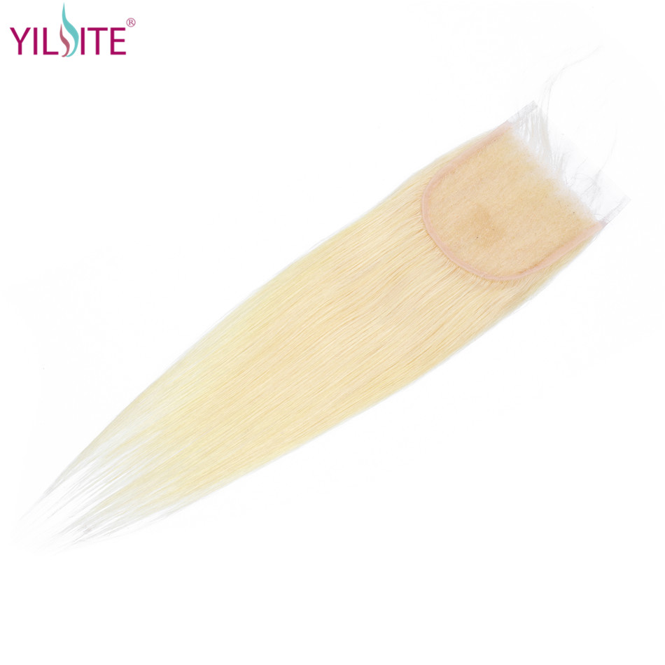 YILITE Blonde Hair Closure 4x4 Free/Middle/Three Part Malaysian 100% Human Hair Straight Color 613 Non-remy Lace Closure image