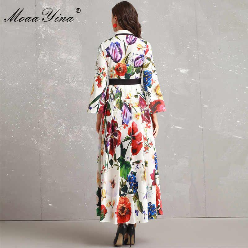 MoaaYina, модное дизайнерское подиумное платье, Осеннее женское платье с расклешенными рукавами и отложным воротником, украшенное бисером, с цветочным принтом, элегантное платье для отдыха