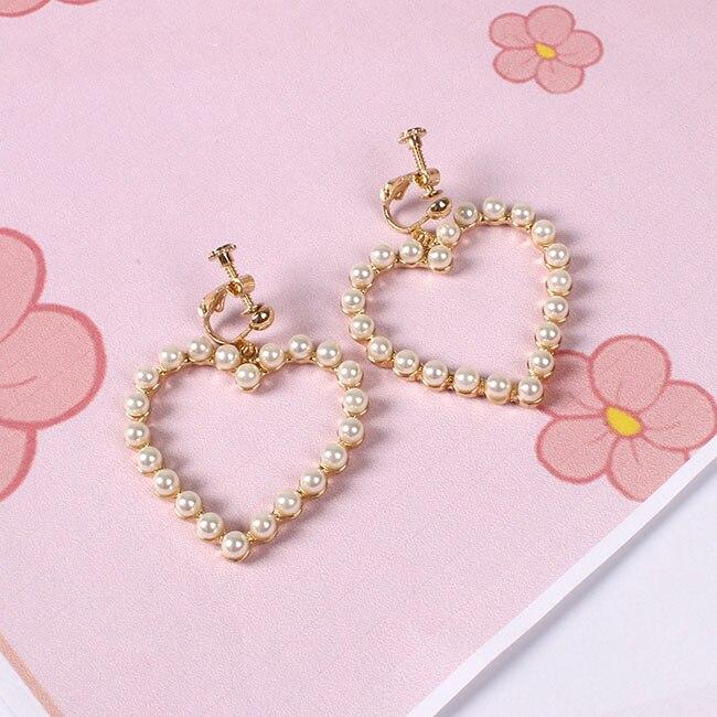 Prachtige harten van pareloorbellen Heet smelten Heerlijk uitgehouwen - Mode-sieraden - Foto 5