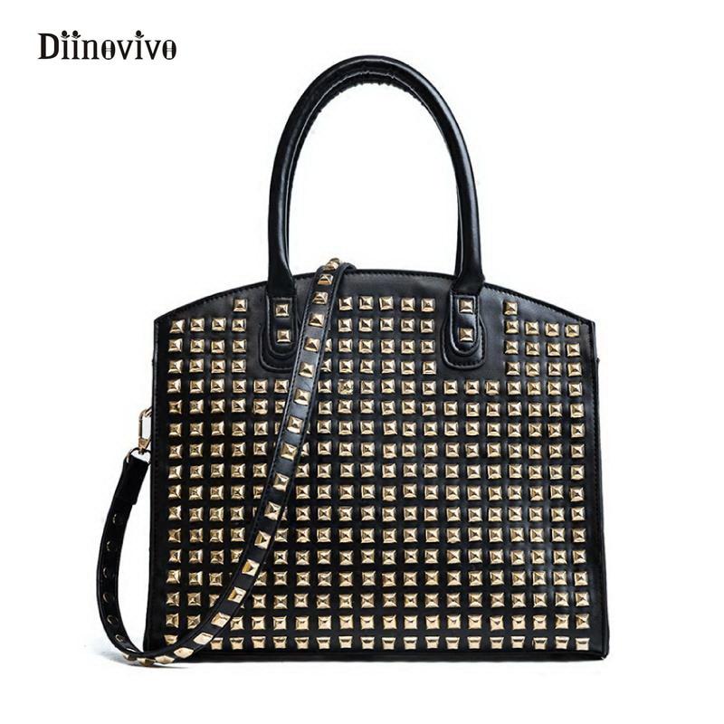 DIINOVIVO Rock Style Rivet Women Handbags Simple Brand Multifunction Totes Bag Punk Designer Female Large Shoulder bags WHDV0218