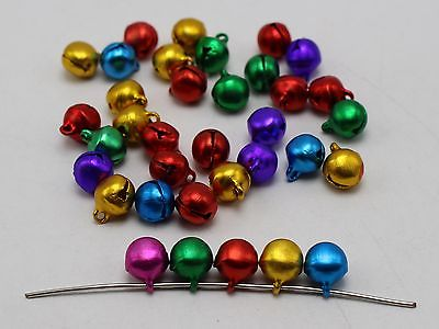 100 Mixed Color Aluminum Christmas Jingle Bells Beads Charms 8mm Decoration DIY