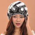 2016 New Luxury Knitted Rose Rabbit Fur Hat skullies beanies Women Care Warm Head Winter Hat Korean Style Knitted Hat