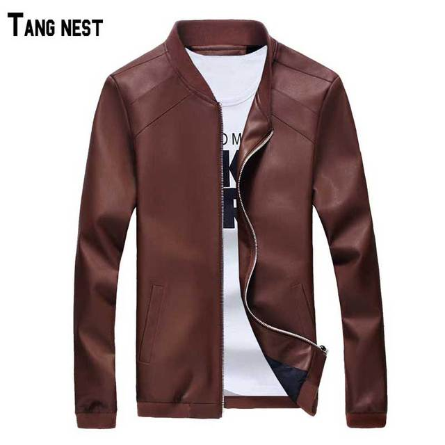 TANGNEST Men's Faux Leather Jackets  2017 New Trend Men's Fashion Slim Fit Faux Leather Jacket Male Casual Solid Jackets MWJ1478