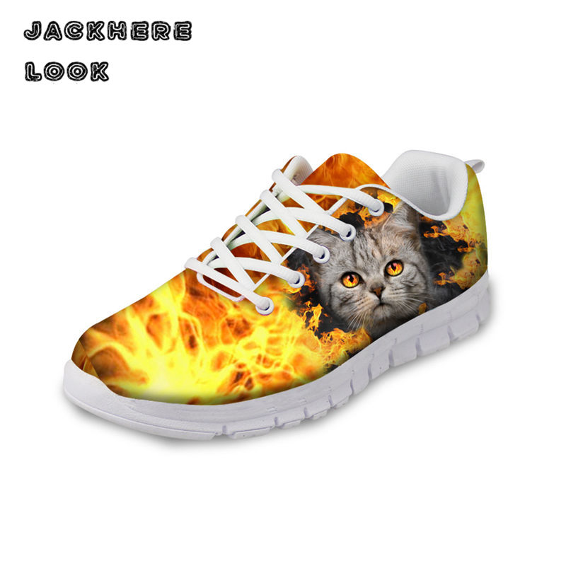 JACKHERELOOK 3d Cute Cat Animal Shoe Casual Lace-up Breathable Walking Shoes Flat Footwear Zapatos Mujer Female Shoes Wholesale new brand black white vintage women footwear lace up casual oxford flat shoes woman british style breathable zapatos mujer