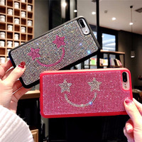 Luxury Glitter Bling Rhinestone Diamond Crystal Smile Tpu Pc Hard Back Cover Case For IPhone X