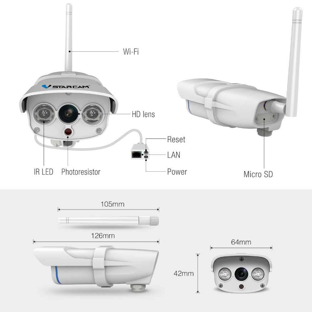 VStarcam C7816WIPกันน้ำกล้องIPไร้สายIR-Cut Wifiเว็บแคมกล้องวงจรปิดกลางแจ้งการเฝ้าระวังวิดีโอความปลอดภัยกล้องTFที่มองเห็นได้