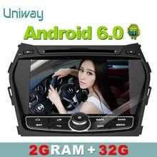 Uniway 2G + 32G android 6.0 coches reproductor de dvd gps para Hyundai Santa FE/IX45 2013 2014 radio de coche del vídeo de apoyo de navegación gps 4G wifi