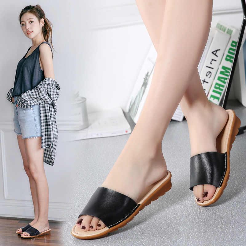 2018 แฟชั่นรองเท้าหนังผู้หญิงรองเท้าส้นสูงรองเท้าแตะBarefootรองเท้าแตะZapatillas MujerสีขาวสีดำApricot