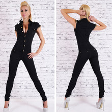 475ecf2fa0 Bigsweety Hot Sale Denim Long Jumpsuit Womens Sexy Deep V Neck Jean  Jumpsuits Buttons Chain Black Overalls For Women Rompers