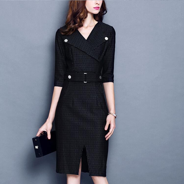 Automne nouveau revers cinquièmes de pur couleur taille taille était mince  robe de tempérament femmes YF73 e024df0115d