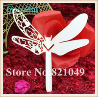 50pcs/lot Free Shipping Hollow laser Cut Party Supplies Place name Seat Invitation Cup Cards Dragonfly Shape for Wine Glass