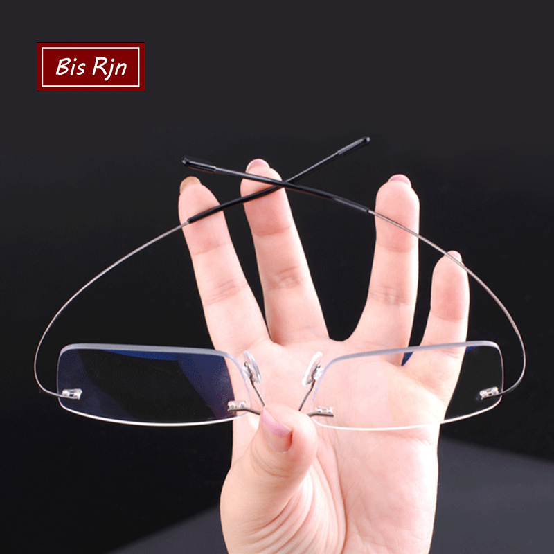Memory Titanium Rimless Reading Glasses Man Women Square Prescription Frameless Eyeglasses +1.0 +2.0 +3.0 +4.0 Diopter Z630