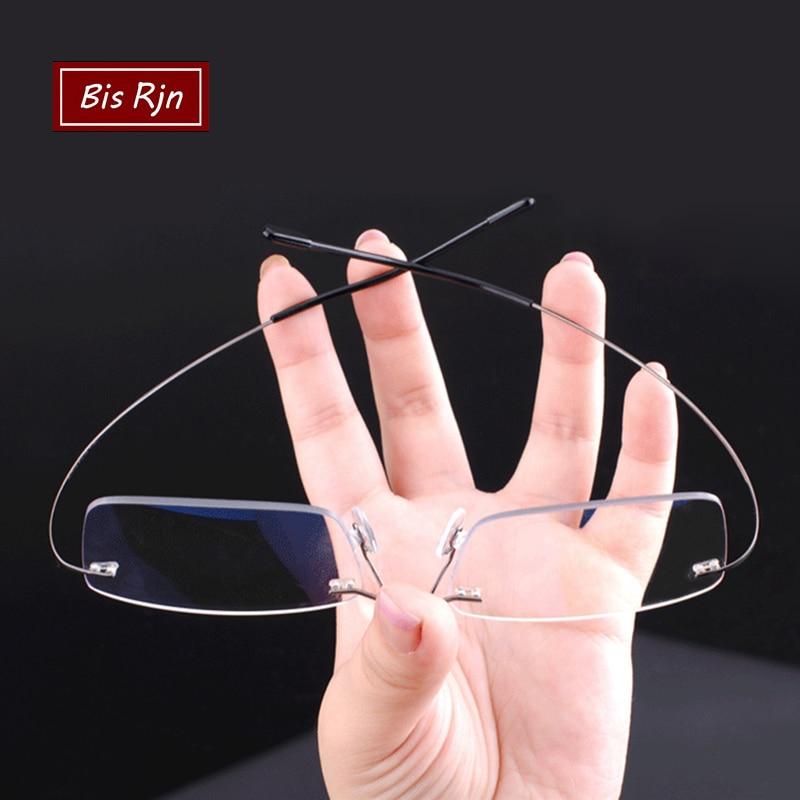 Memory Titanium Rimless Reading Glasses Man Women Square Prescription Frameless Eyeglasses +1.0 +2.0 +3.0 +4.0 Diopter Z630