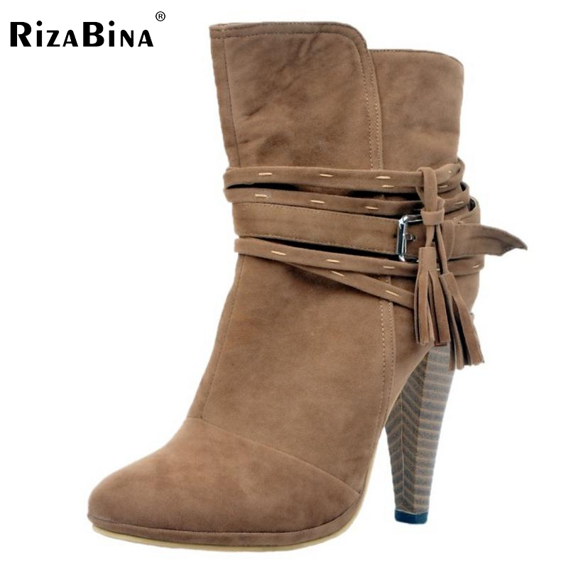 RizaBina Women Spike Heel Ankle Boots Woman Pointed Toe High Heel Ladies Gladiator Tassel Ankle Strap Botas Mujer Size 34-47 rizabina women spike heel ankle boots woman pointed toe high heel ladies gladiator tassel ankle strap botas mujer size 34 47
