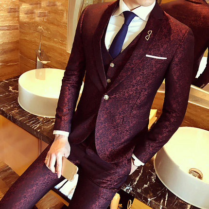Burgundy Floral Jacquard Wedding Dress Suits For Men Slim Fit 3 Piece Set Blazer+Vest+Pants 3XL Mens Boys Prom Suit 2020
