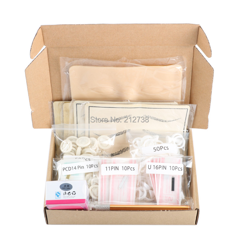 Microblading learner kits for eyebrow tattoo permanet makeup  beauty with 30 needle blade 5 practise skin1 deep coffee  pastemicroblading kitmicroblade eyebrow kiteyebrow microblading kit -