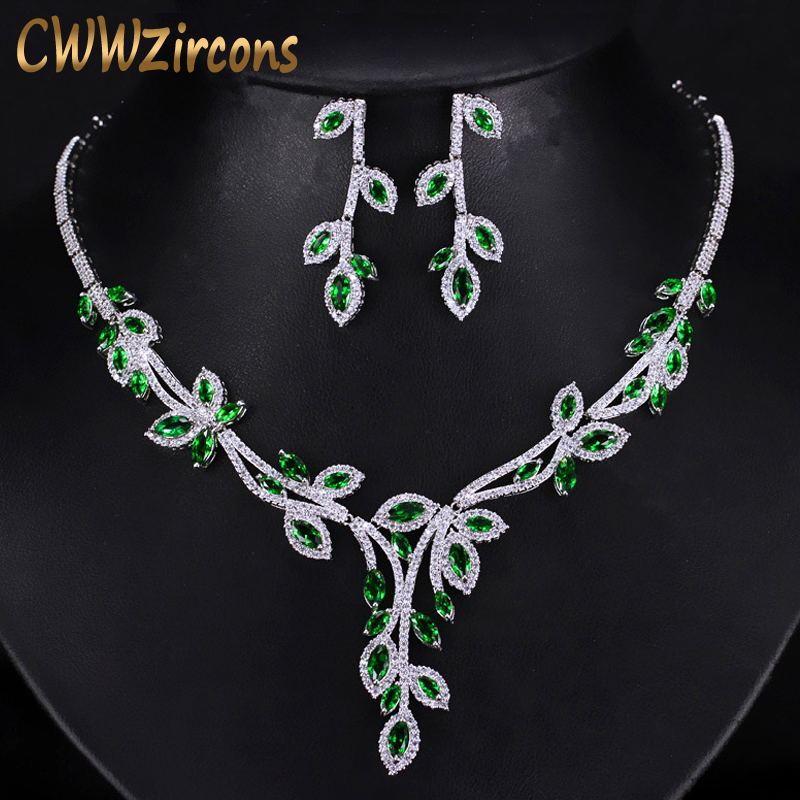CWWZircons Elegant Leaf Drop Green Cubic Zirconia Big Bridal Necklace And Earrings Wedding Jewelry Sets For