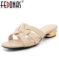 FEDONAS New 2018 Fashion Genuine Leather Women Sandals Summer Lady Casual Dress Shoes Woman White Apricot Slippers Sandals