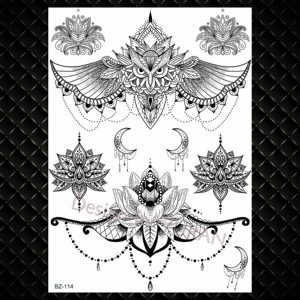 YURAN Delle Donne Della Ragazza Grande Braccio Gufo Falso Tatuaggio Temporaneo Mandala Fiore Hennè India Autoadesivi di Tatoo Custom Black Tartaruga Tatuaggi Ragazze